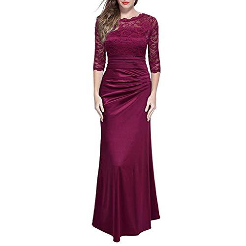 Xmiral Damen Kleid Retro Floral Formale Spitze Vintage -