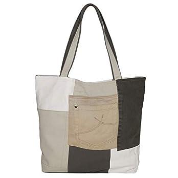 Leichte Moderne Jeanstasche Gross Einmalige Handtasche Bunt Damen Shopper Tasche aus Jeansstoff Recycelte Schultertasche Weiß Braun Beige
