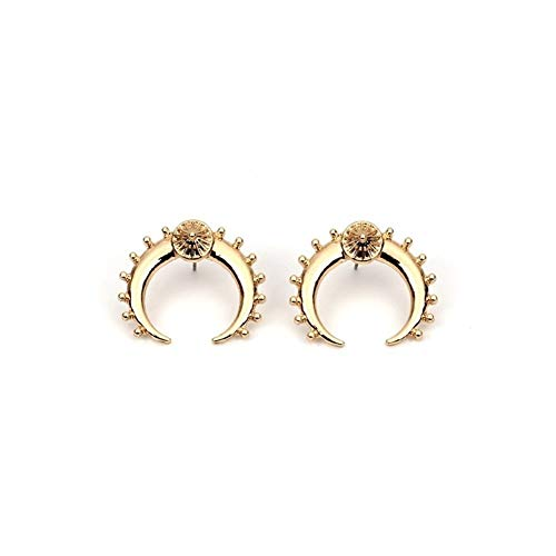 Damen Herren Ohrstecker Frauen halbmond ohrringe in vintage gold farbe zarte ohrstecker horn crescent nickel free moon ohrstecker ohrring piercing ür Frauen Ohrringe Piercing (Color : Gold)