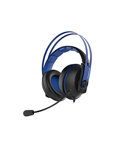 Asus Cerberus V2 Blue - Auriculares gaming con altavoces Asus Essence de 53 mm, diadema de acero inoxidable y almohadillas envolventes