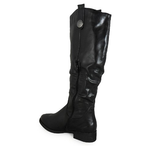 Loudlook Neue Frauen-Damen-Rider Mitte Der Wade Flat Fashion Reiten Biker Stiefel Mit Flachem Absatz Schuhe Gr?sse 3-8 Black