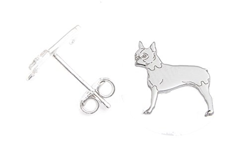 BOSTON TERRIER Hunde Ohrstecker 925 Sterling Silber Schmuck