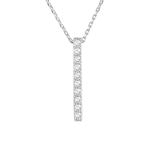 Diamond Line Damen - Halskette 375er Gold 10 Diamanten ca. 0,20 ct, weißgold