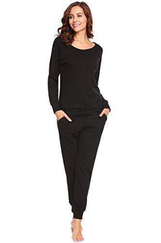 Untlet Damen Schlafanzug Pyjama Set Klassisches Stricken langen Ärmeln Sleepwear, Schwarz8061, EU 38(Herstellergröße: M) (Stricken Baumwolle Nachthemd)