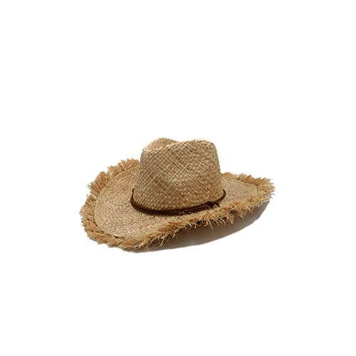 LIWEIL Männer Jazz Hut Cowboys Strohhüte Besten Herren Western Natur Raffia Strohhut Neue Frauen Cowgirls Roll-Up Sommer Sun Caps - Beste Cowboy-hut