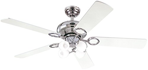 31QvHikswSL - Westinghouse Ceiling Fans 78753 Helix Fusion Four-Light 132 cm Five-Blade Indoor Ceiling Fan, Chrome Finish with Opal Frosted Glass