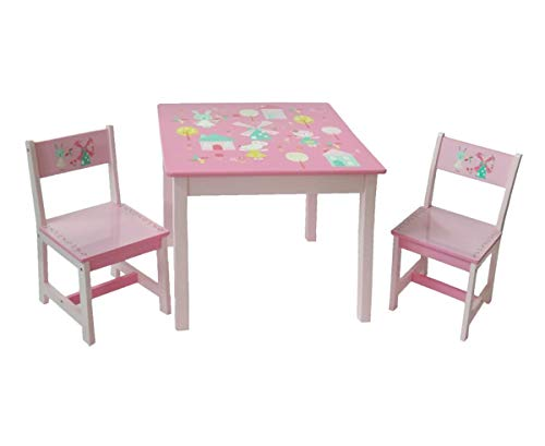 HS-Lighting Kindersitzgruppe Holz Tisch & Stuhlsets | 1 Tisch + 2 Stühle | HS-17GD-001