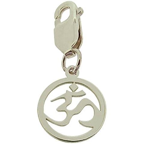 Sólido 925plata de ley Om Ohm Aum hindú Yoga encanto en caja de regalo