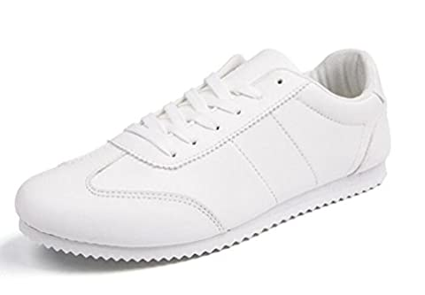 Student Casual Sneakers Anti-Rutsch-Balanced Soft Soles Lace-up Breathable Low Top Wareable Gym Classic Weiß Schwarz Schuhe EU Größe 39-44 , white , 43