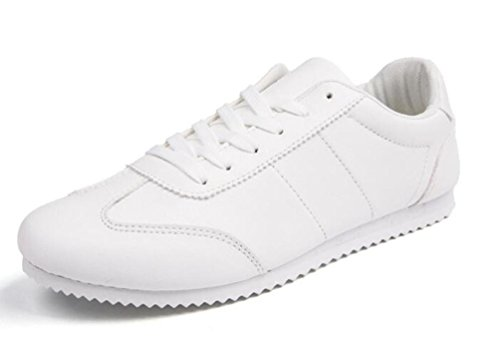 Student Casual Sneakers Anti-Rutsch-Balanced Soft Soles Lace-up Breathable Low Top Wareable Gym Classic Weiß Schwarz Schuhe EU Größe 39-44 , white , 43 (Männer Weißes Kleid Schuhe)