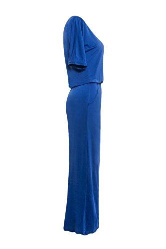 Sunnywill Eleganter Lange Maxi BOHO Party Abendkleid mit Tasche Sommerkleid Partei Kleid für Mädchen Damen Blau
