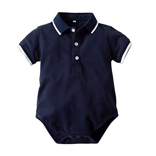 WUSIKY Frühling Sommer Infant Overall Babyspielanzug Jungen Gentleman Shirt Kurzarm Brief Gedruckt Bodysuit ()