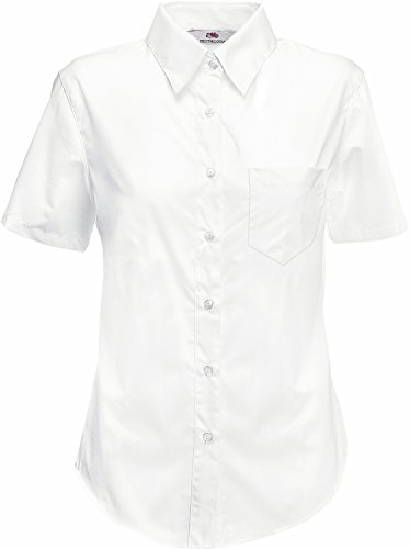 Fruit Of The Loom Lady-Fit Poplin Bluse, kurzarm Small,Weiß