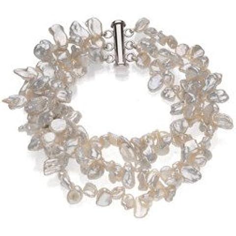 Sterling con perle coltivate di acqua dolce Keshi, colore: Bianco, 19 cm, 9 mm, JewelryWeb - Coltivate Collana Di Perle Keshi