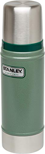 Stanley Vakuum-Thermosflasche, 0.47 Liter, Hammertone Green, 18/8 Stainless Edelstahl, Integrierter Thermobecher, Doppelwandige Isolierung Isolierflasche Isolierkanne Kaffeekanne -