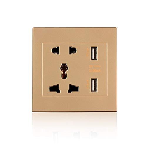 WEIWEITOE Dual USB Port 5 V 2100MA Elektrische Ladegerät Port Dock Steckdose Steckdose Strom AC Power Panel Platte Gold Gold Dual Wall Plate