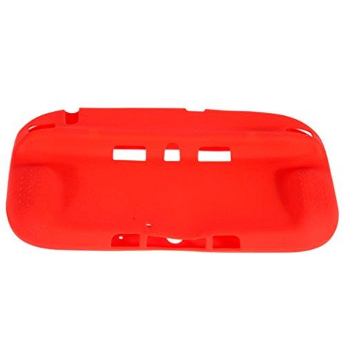 Jintime Für Wii U Gamepad Silikon Schutzhülle Wireless Controller Rubber Skin Case Anti-Rutsch, Waschbar (Red)