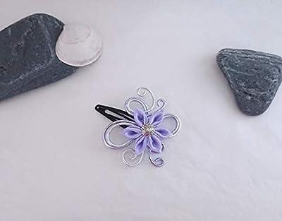 Pince à cheveux fleurs kanzashi tsumami parme/argenté