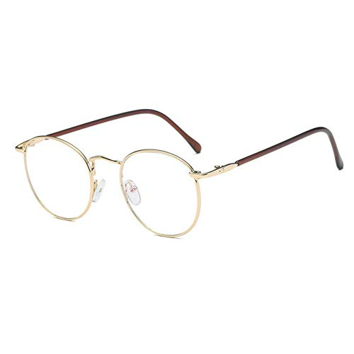 GBST New Round Art Gold Fine Wire Optical Metal Spectacle Frame Women's Myopia Frame Men's Plain Light Cosmetic Glasses,A2