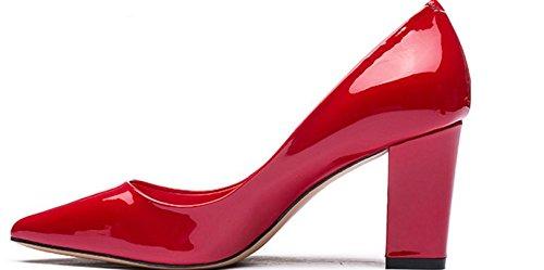 Brève fashion ladies sac de cuir verni à l'automne un pointu talons épais/Chaussures joker C