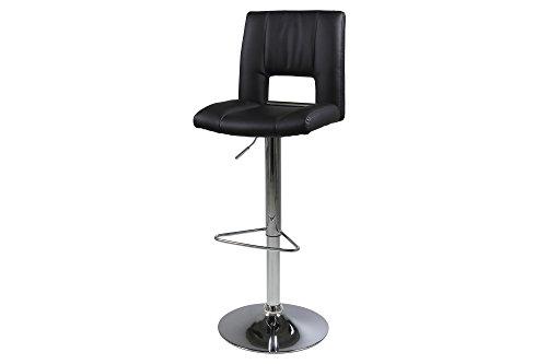 AC Design Furniture 53828 Barhocker 2-er Set Evan, Lederlook Schwarz PU