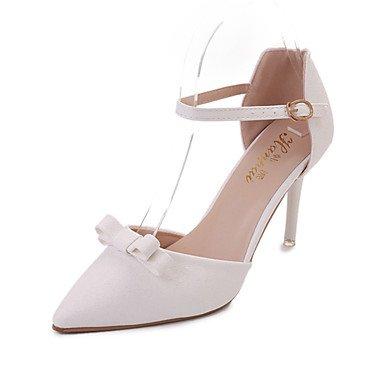 zhENfu Donna Sandali Comfort estivo PU Outdoor Walking Stiletto Heel fibbia arrossendo Rosa Bianco Beige White