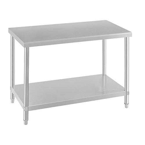 Royal Catering Edelstahl Arbeittisch Küchentisch Aufsatzboard Set RCAT-SET1 (Arbeitsfäche: Tisch: 120x70cm Bord: 120x26cm, 145 kg Tragkraft, 4 Ebenen, einfache Montage) Silber