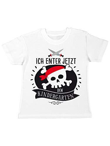 (clothinx Kinder T-Shirt Kindergartenstart Ich Enter Jetzt den Kindergarten Weiß Größe 104)