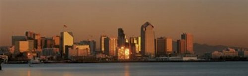 The Poster Corp Panoramic Images - San Diego Skyline at Sunset Photo Print (45,72 x 15,24 cm) -