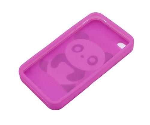 Xcessor Coque de protection en silicone pour Apple iPhone 44S Motif panda Dunkelrosa