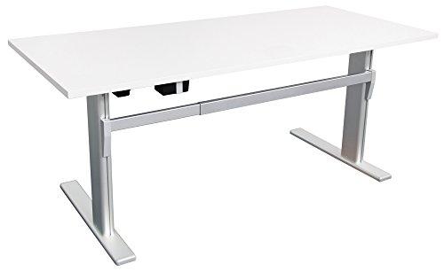 Höhenverstellbarer Schreibtisch in Weiß Ergonomisch Elektrisch B 160 cm x T 80 cm Bürotisch Arbeitstisch Workstation Arbeitszimmer (B 160 cm x T 80...