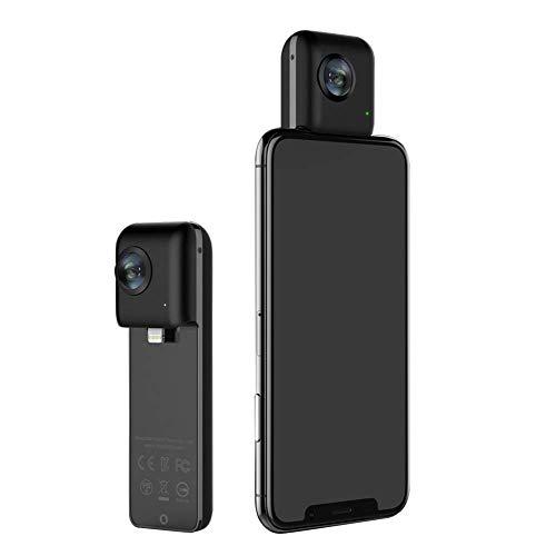 Hppbody VR Kamerafür iPhone X/iPhone 8/7/6,210 ° Weitwinkelobjektiv,4K-Video,schwarz, Modell: MXS05