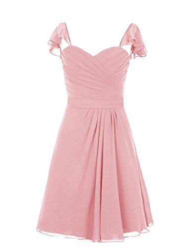 Dresstells, robe courte de demoiselle d'honneur, robe de cocktail mousseline col en cœur Blush