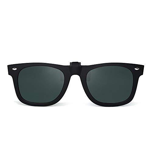 Polarisiert Clip auf Sonnenbrille Flip up Gespiegelt Brille Damen Herren(Matt-schwarz/Polarisiertes Grün)