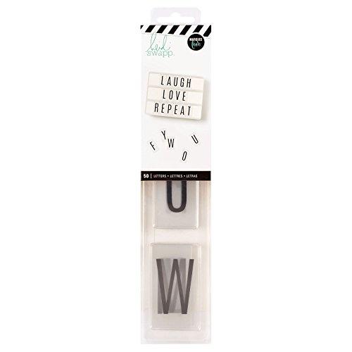 Heidi Swapp Lightbox Inserts 50/Pkg-Alphabet/Black On White Background - Heidi Swapp-alphabet