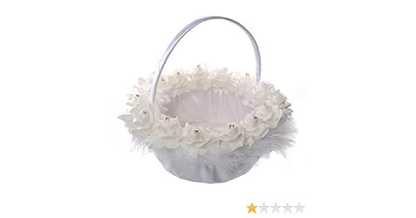 XLGX Panier Nuptiale de Bonbons de Plume de Panier de Fille de Fleur de Mariage pour la D/écoration de Partie de C/ér/émonie de Mariage Blanc