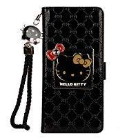 9 Hello Kitty Brieftaschen-Schutzhülle aus PU-Leder mit Glitzersteinchen und Schleife, S9, schwarz ()