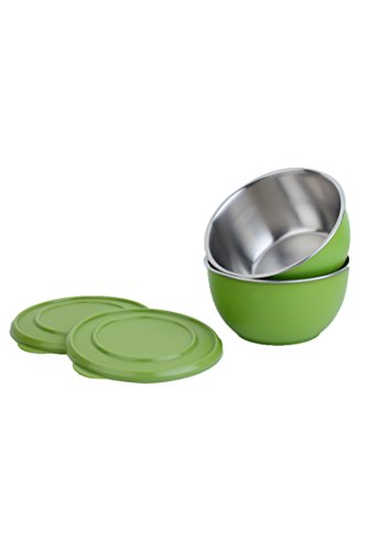 Homeish Metallo Microwave Safe Stainless Steel Plastic Coated Bowls with Lid (Green) Set of 2 - 17cms