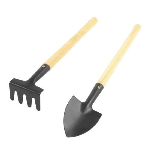 di-legno-portatile-nero-metallo-testa-rcometrello-pala-diserbo-giardinaggio-strumento-2-in-1-set