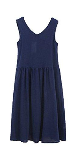 Blansdi Femme Coton Sans Manches Col V à Bretelle Boho A-Lin Tunique Lâce Large Casual Robe Bleu foncé