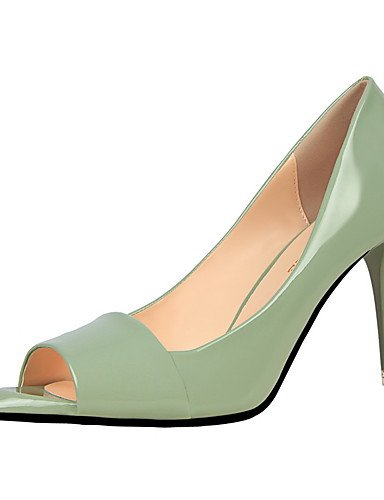 GS~LY Damen-High Heels-Kleid-Kunstleder-Stöckelabsatz-Absätze / Spitzschuh / Vorne offener Schuh-Schwarz / Lila / Rot / Silber / Grau / Hellgrün light green-us6 / eu36 / uk4 / cn36