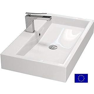 Design Waschbecken zur Wandmontage oder als Aufsatzwaschbecken   70x42x10cm   Material: hochwertiges Mineralguss   Made in EU   hochwertig verarbeitet
