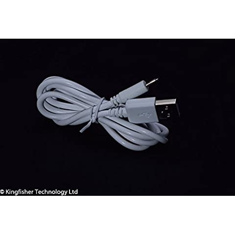 Kingfisher–tecnología 90cm USB 5V 2A PC blanco cargador de alimentación adaptador de cable (22AWG) para BTC FBA llama IR 7? Lollipop Tablet