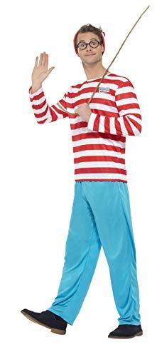 Smiffys, Herren Wo ist Walter-Kostüm, Oberteil, Hose, Brille und Mütze, Where´s Wally, Größe: L, 34591 (Wo Ist Wally Kostüm Damen)