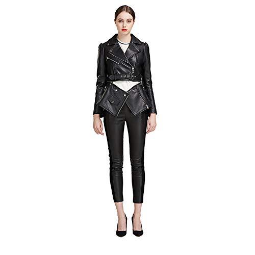 GWDYE Damen Lederjacke, Moto Oberbekleidung, 100% Leder, handgefertigt, Fischschwanzsaum, abnehmbar, geschlossen, halber Zug, Lange Absätze können frei zugeordnet Werden,XL
