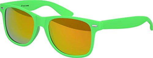 Balinco Hochwertige Nerd Sonnenbrille Rubber im Wayfarer Stil Retro Vintage Unisex Brille mit Federscharnier - 96 verschiedene Farben/Modelle wählbar (Hellgrün - Rot/Orange verspiegelt)