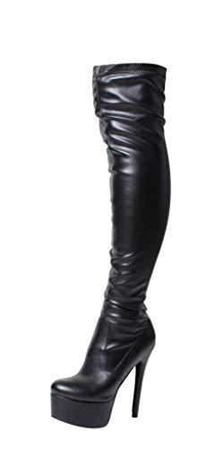 Tilly London Damen Damenstiefel Overkneestiefel Über Das Knie Oberschenkel hoch Hacke Stiletto Lackleder Strecken Elastisch Sexy Schuhe Breite Plattform Stiefel Schwarz Rot