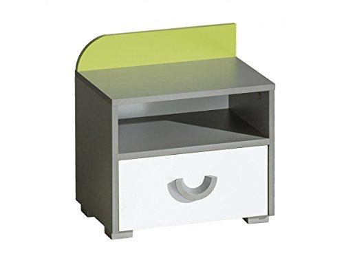 Nachttisch FUTURO Nachtkommode Nachtschrank Kinderzimmer Möbel Farbauswahl (weiß / graphite / grün)