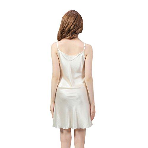 VANSILK 19mm 100% Soie Femme Chemise de Nuit Sexy Nuisette Bretelles Reglables Pure Douceur Robes Peignoir Blanc