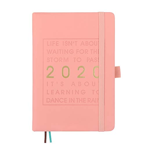 JACINTA Terminkalender 2020 Espesar A5 Leder Softcover Planer 2020 Januar - Dezember Chronograph Effizienz Tagebuch Pink